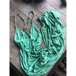 ANTHROPOLOGIE green crisscross maxi sun dress